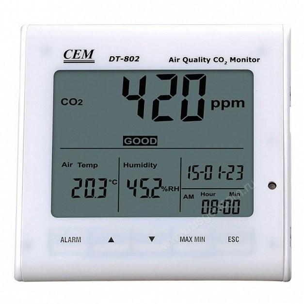 АНАЛИЗАТОР CO2, ЧАСЫ, ТЕМПЕРАТУРА, ВЛАЖНОСТЬ CEM DT-802  запросить стоимость